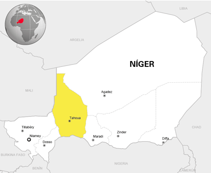 Mapa de Níger con la región de Tahoua destacada