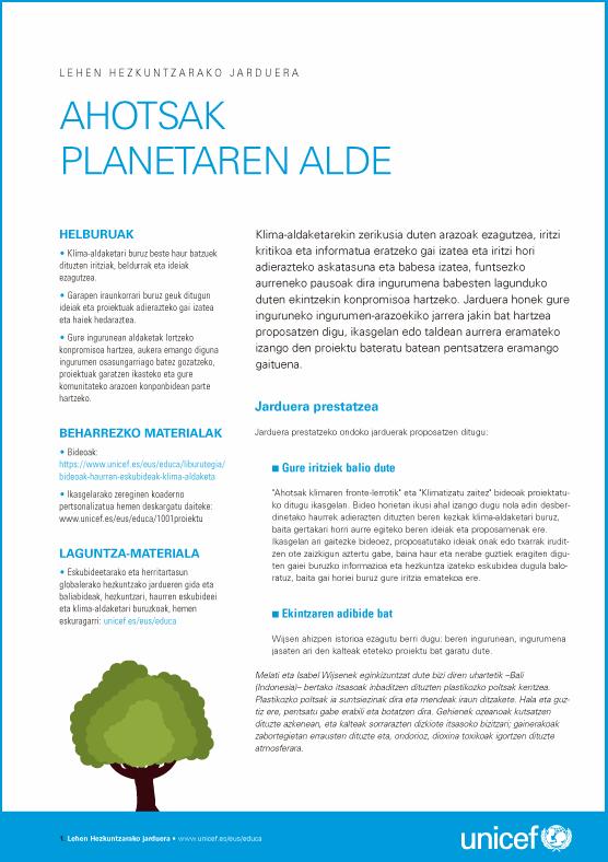 Actividad para Educación Primaria sobre cambio climático y derechos de infancia