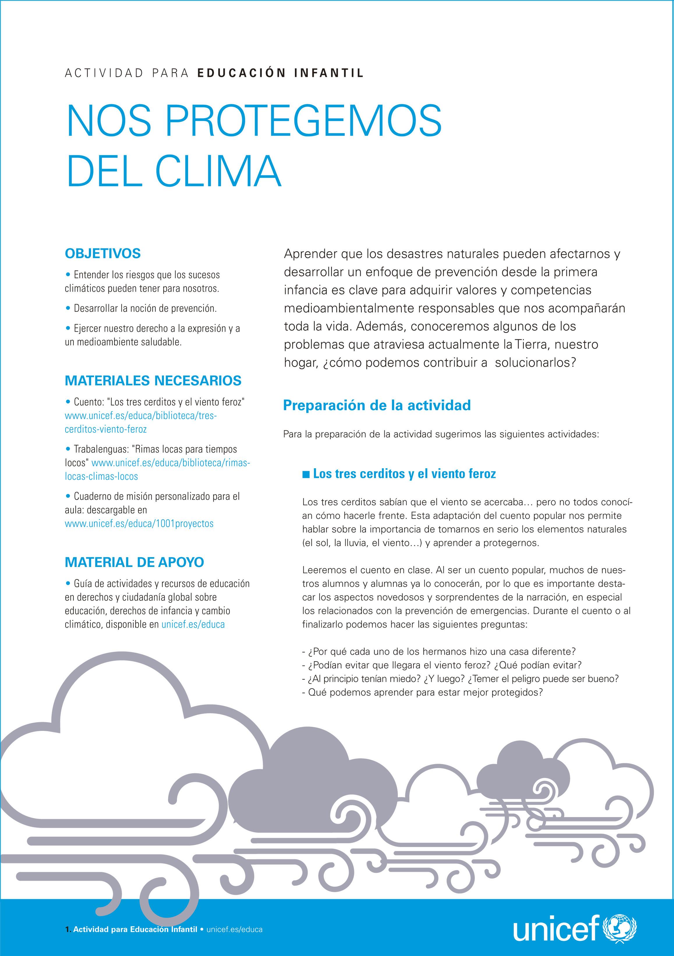 Actividad para educación infantil sobre el clima y los derechos de la infancia